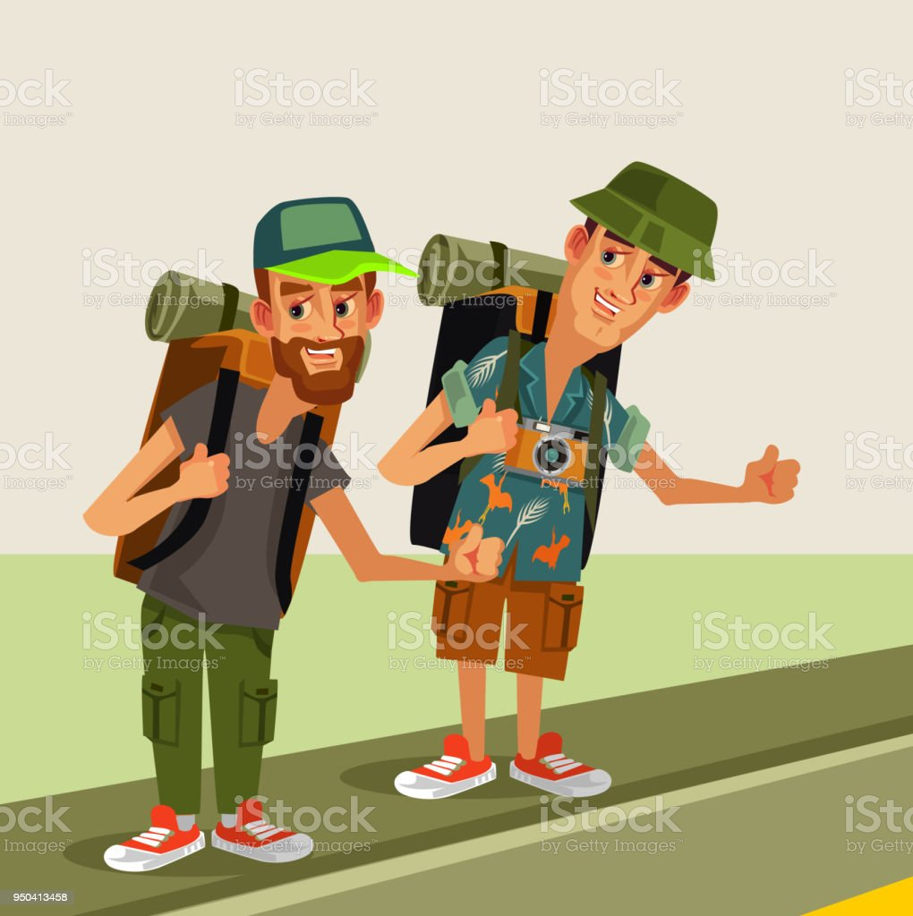 Two hipster man hitch hikers characters with backpack trying stop car highway road. Travel hitch hiking journey holiday thumbs up concept. Vector flat cartoon graphic design isolated illustration vector art illustration