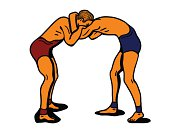 two holding greco-roman wrestlers