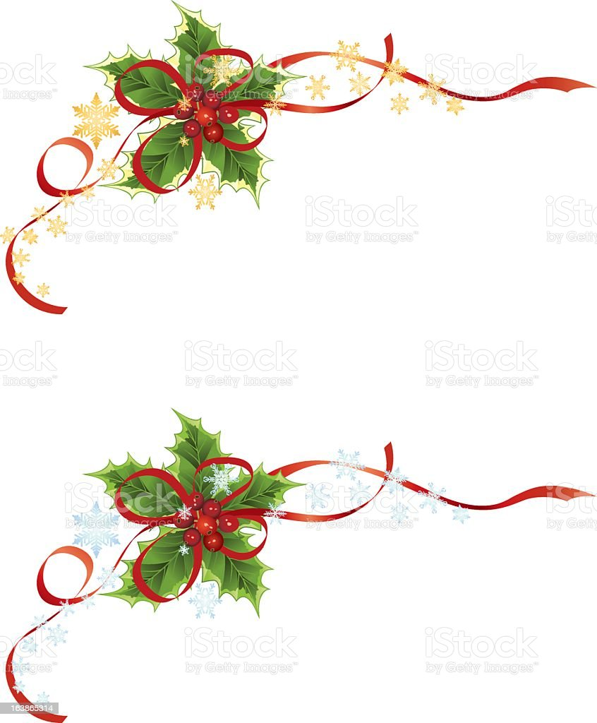 Two Holly Design Corner Elements with Red Ribbons and Snowflakes royalty-free stock vector art