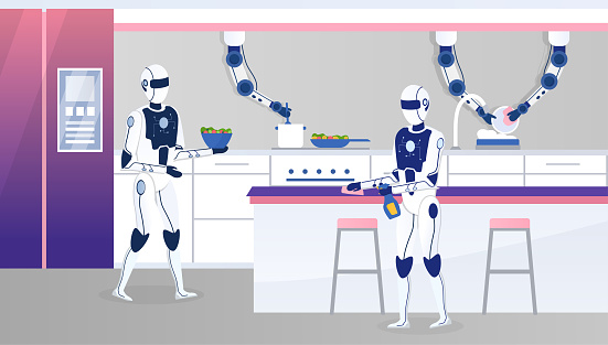 Two home robots work in a modern kitchen. Futuristic concept with humanoid robot assistants. Multitasking engineered for people assistance. Automated cooking process at home. Flat Vector Illustration