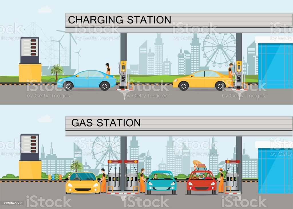 Two horizontal banners with charging station and Gasoline and oil station. vector art illustration