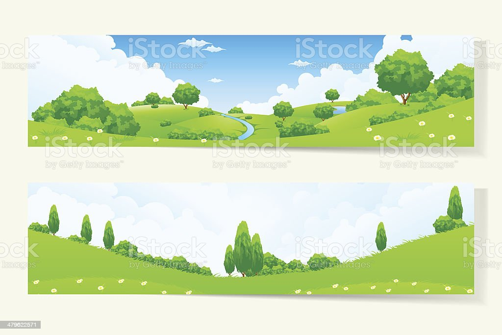 Two Horizontal Banners with Nature Landscale vector art illustration