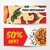Two horizontal pizza banners with ingredients, colorful sketch style vector templates. Two banner templates with mozzarella and chili, mushroom and olive pizza, sale, flyer design
