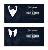 Two horizontal Black Tie Event Invitations.