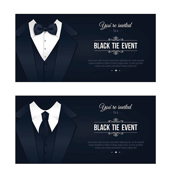Two horizontal Black Tie Event Invitations. Two horizontal Black Tie Event Invitations.  Elegant black and white cards. Black banners set with businessman suits. Vector illustration formalwear stock illustrations