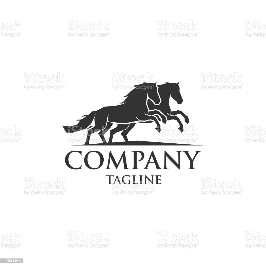 Two Horse Running Vector Logo Stock Illustration Download Image Now Istock