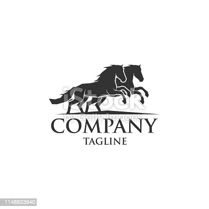 two horse running icon vector logo