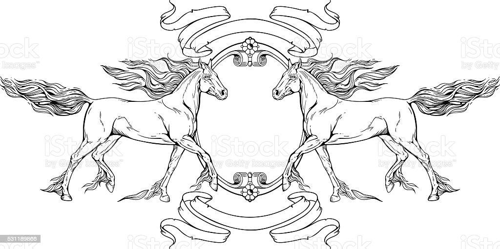 Zwei Pferde Rahmen Und Bänder Stock Vektor Art und mehr Bilder von ...
