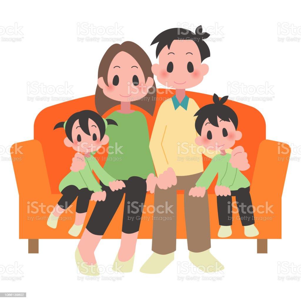 2 世帯家族 ベクターアートイラスト