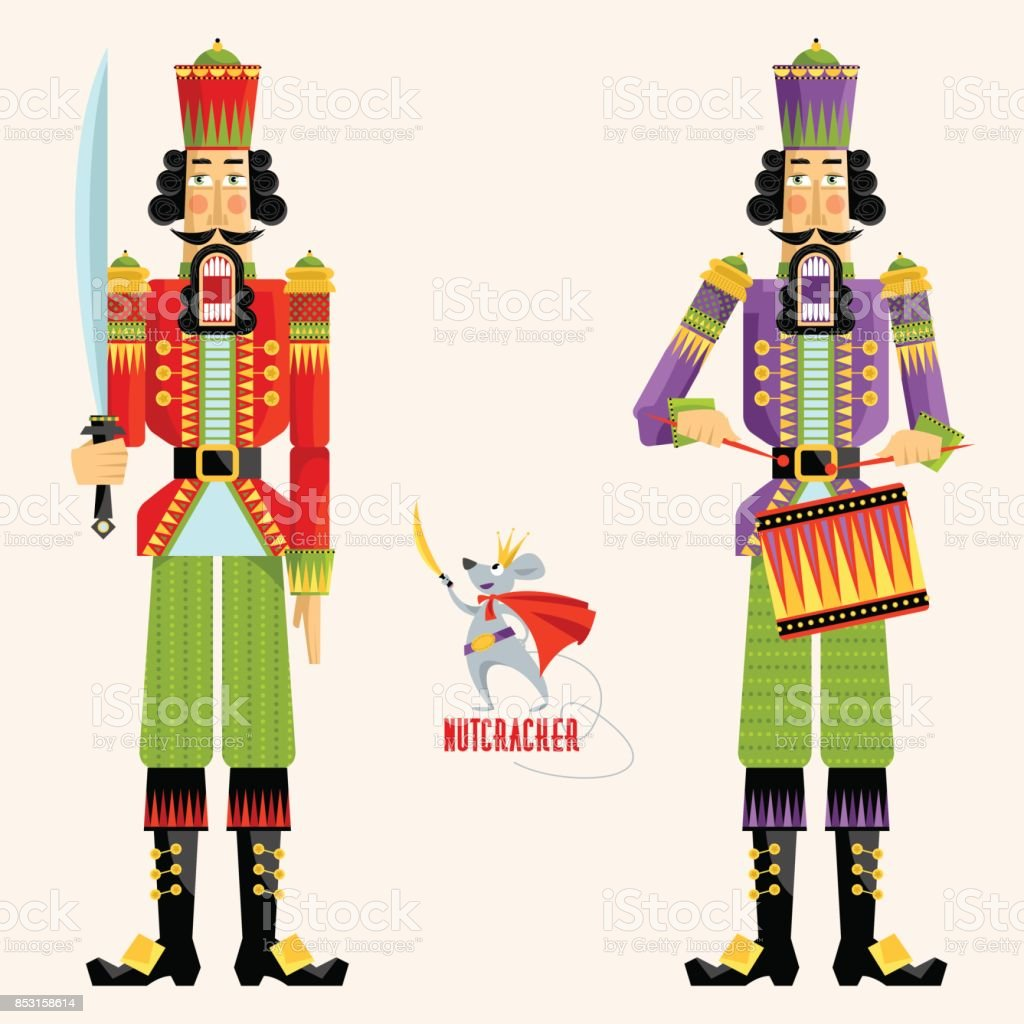 Two Сhristmas Nutcrackers and the mouse king. vector art illustration