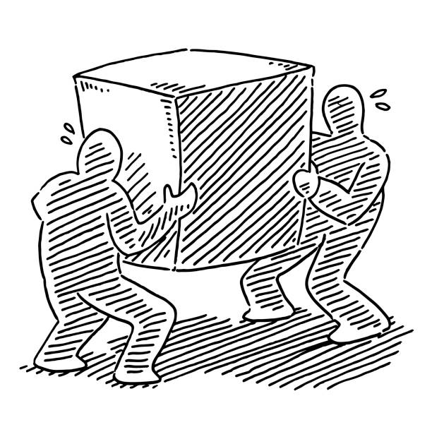 Two Human Figures Carrying A Heavy Box Drawing Hand-drawn vector drawing of Two Human Figures Carrying A Heavy Box. Black-and-White sketch on a transparent background (.eps-file). Included files are EPS (v10) and Hi-Res JPG. cartoon character figure stock illustrations