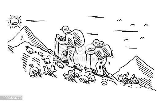 istock Two Human Figures Hiking Trip Drawing 1290823779