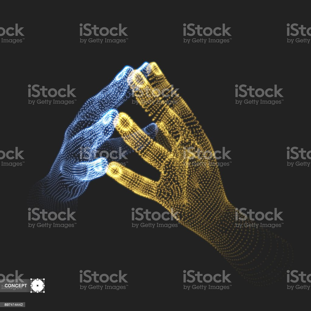 Two human hands. Connection structure. Business concept. 3D vector illustration. vector art illustration