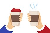 Human hands hold cups of hot drink. Disposable coffee paper cup with the steam. Coffee to go concept. Flat vector illustration isolated on white background