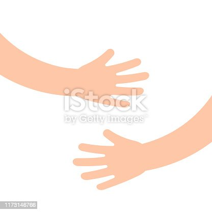 istock Two human hands holding or embracing something 1173146766