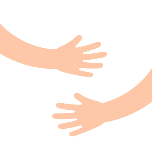 Two human hands holding or embracing something Two human hands holding or embracing something. Hugging hands. Vector illustration. hug stock illustrations