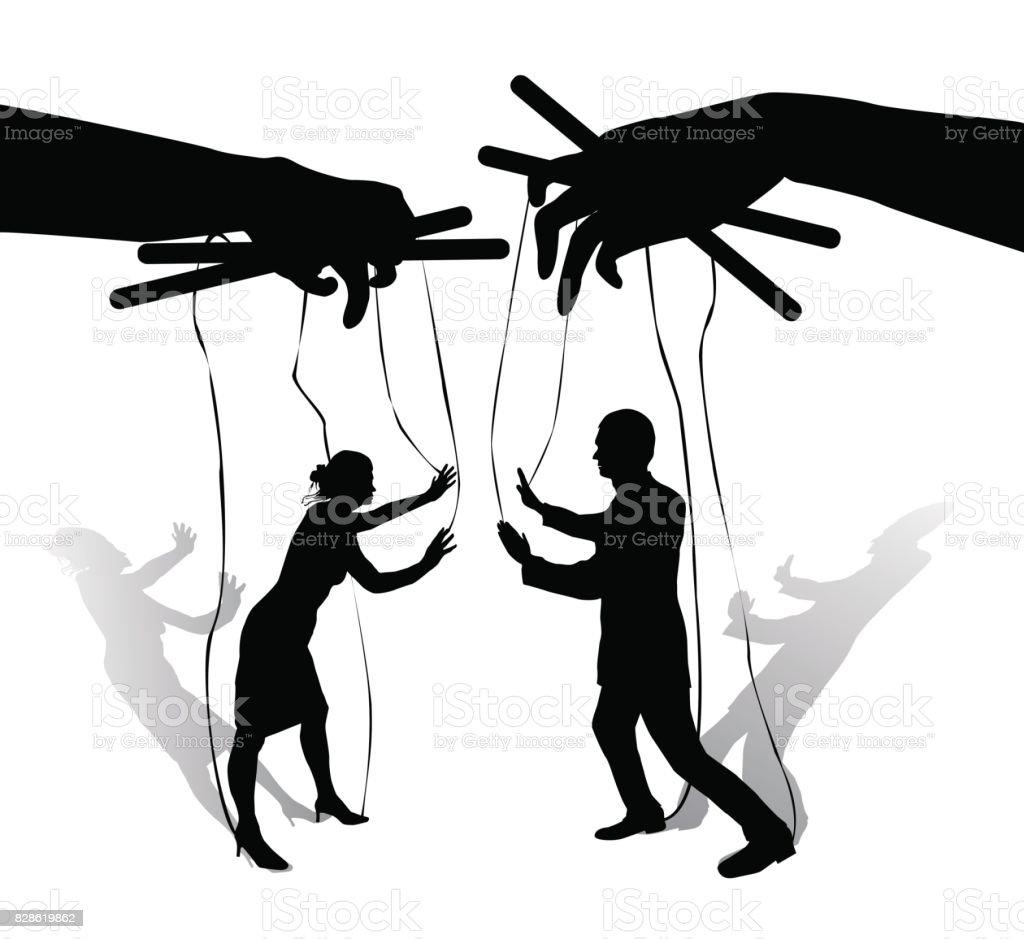 Two human puppets talk and argue vector art illustration