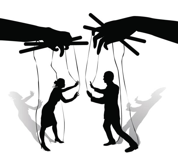 two human puppets talk and argue - marionetka stock illustrations