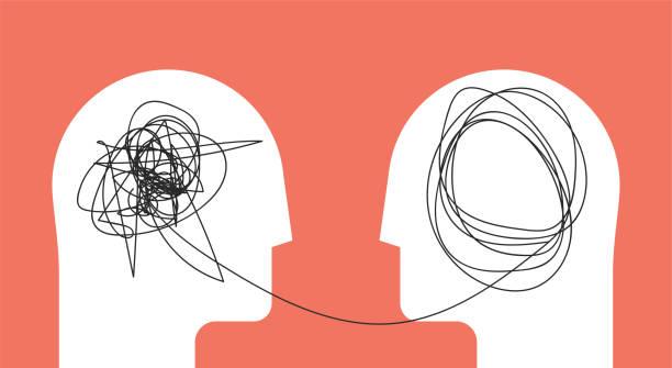 dwóch ludzi głowy sylwetka psycho terapii koncepcji. terapeuta i pacjent. ilustracja wektorowa na blogu psychologa lub wpisie w mediach społecznościowych. - inteligencja stock illustrations