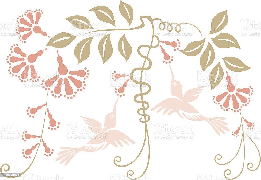 Two Hummingbirds & Flowers royalty-free stock vector art