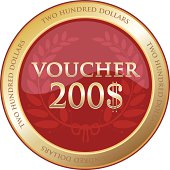 Two hundred dollar round voucher in gold.