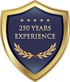 Two hundred fifty years experience gold shield with five stars.