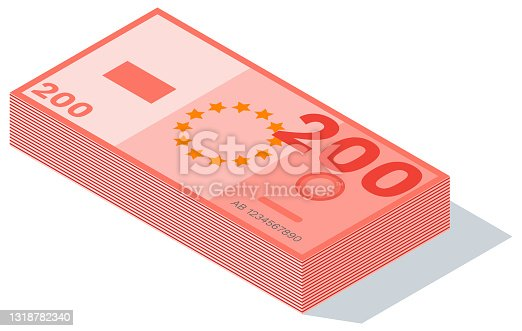 istock Two hundreds euro banknotes stacks isolated on a white background. Currency vector illustration 1318782340