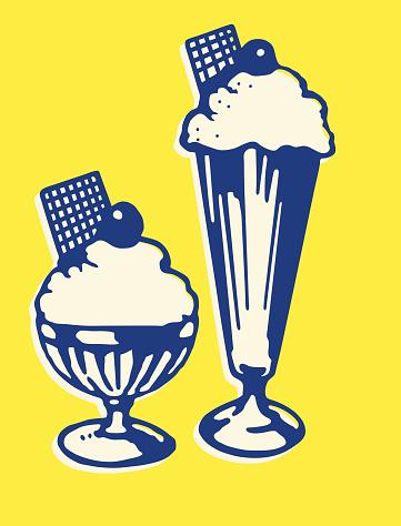 Two Ice Cream Sundaes