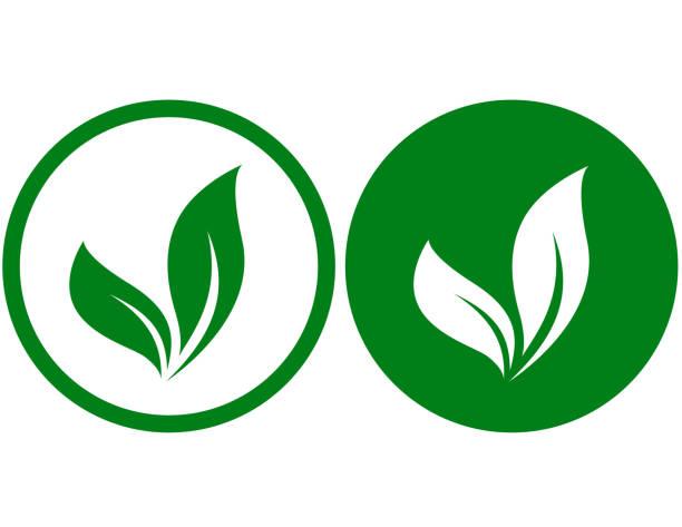 ilustraciones, imágenes clip art, dibujos animados e iconos de stock de dos iconos con hojas - vegana