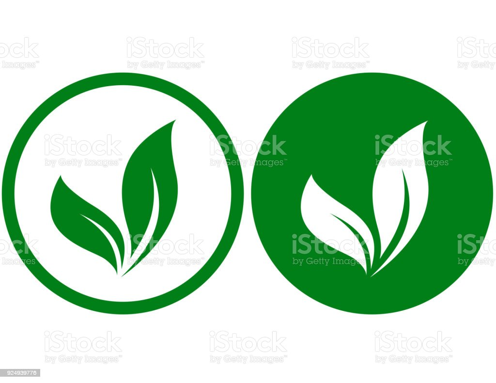 two icons with leaves vector art illustration