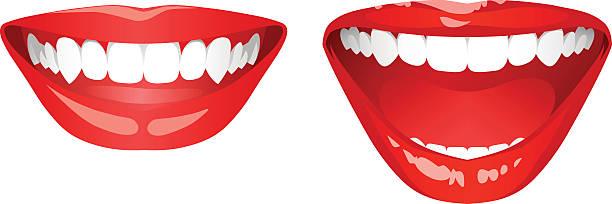 illustrazioni stock, clip art, cartoni animati e icone di tendenza di bocca sorridente - smile woman open mouth