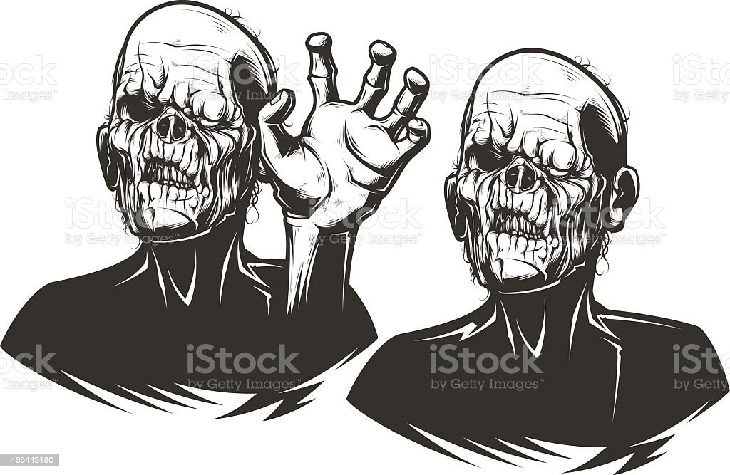 Two illustrations of scary zombies vector art illustration