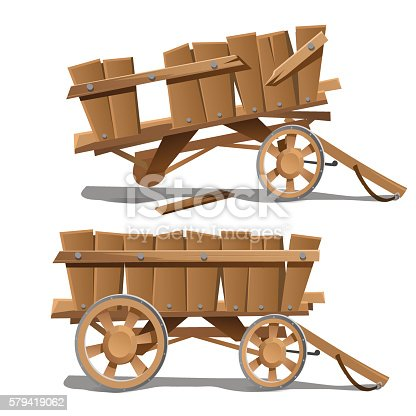 Two images of old wooden carts, new and broken. Vector illustration
