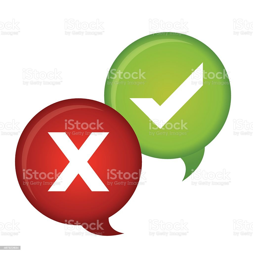 Two images one red with a x and one green with a check mark vector art illustration