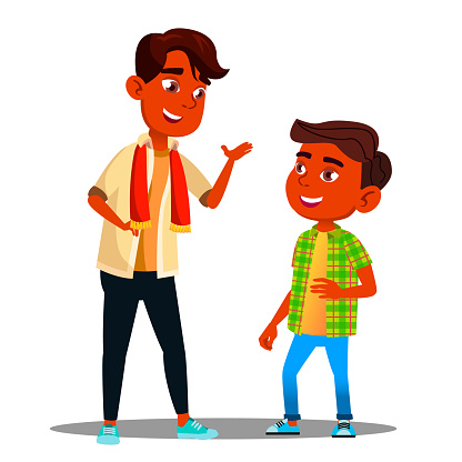 Two Indian Boys Talking To Each Other Vector. Isolated Illustration clipart
