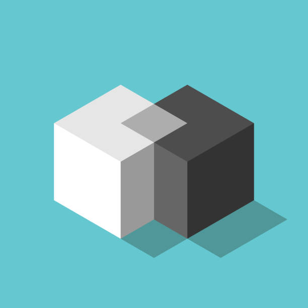 Two isometric cubes merging Cubes merging. Merger, teamwork, negotiation, unification concept. Two isometric white and black blocks uniting on turquoise blue. Flat design. EPS 8 vector illustration, no transparency, no gradients midsection stock illustrations