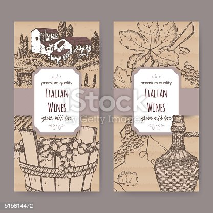two italian wine label templates on cardboard background stock vector art more images of. Black Bedroom Furniture Sets. Home Design Ideas