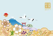 Two Japanese cranes in nature - New Year card