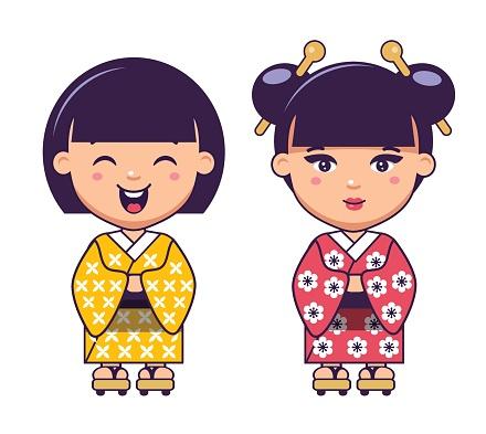 two japanese girls in kimono