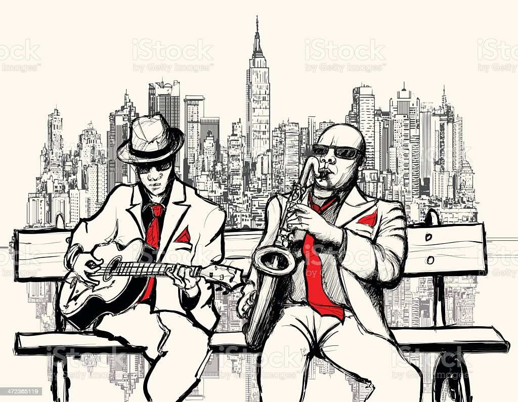 two jazz men playing in New York royalty-free stock vector art