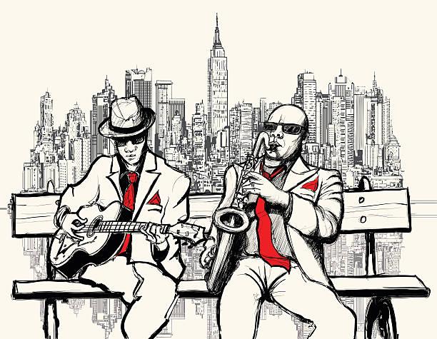 stockillustraties, clipart, cartoons en iconen met two jazz men playing in new york - tenor
