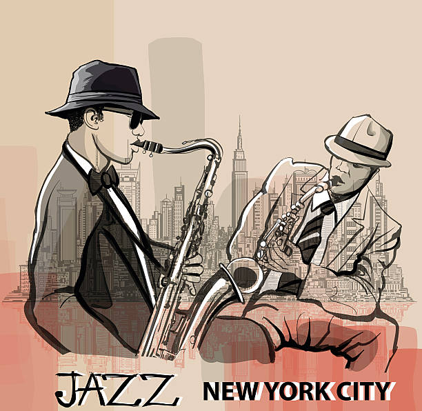 stockillustraties, clipart, cartoons en iconen met two jazz saxophonists playing in new york - tenor