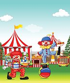 Two jesters performing in the amusement park