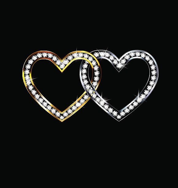 zwei jewelery hearts - perlenweben stock-grafiken, -clipart, -cartoons und -symbole