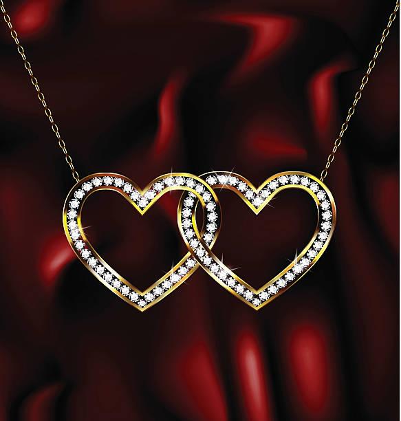 zwei schmuck hearts - perlenweben stock-grafiken, -clipart, -cartoons und -symbole