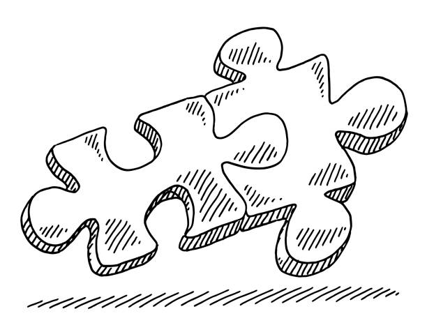 Two Jigsaw Pieces Connection Symbol Drawing Hand-drawn vector drawing of Two Jigsaw Pieces, Connection Symbol. Black-and-White sketch on a transparent background (.eps-file). Included files are EPS (v10) and Hi-Res JPG. game stock illustrations