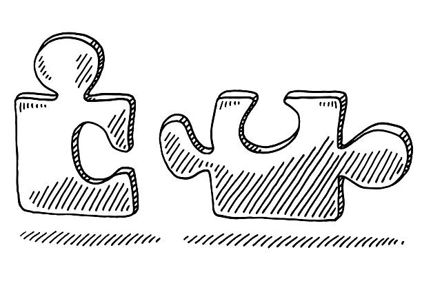Two Jigsaw Pieces Fitting Together Drawing Hand-drawn vector drawing of Two Jigsaw Pieces Fitting Together. Black-and-White sketch on a transparent background (.eps-file). Included files are EPS (v10) and Hi-Res JPG. game stock illustrations