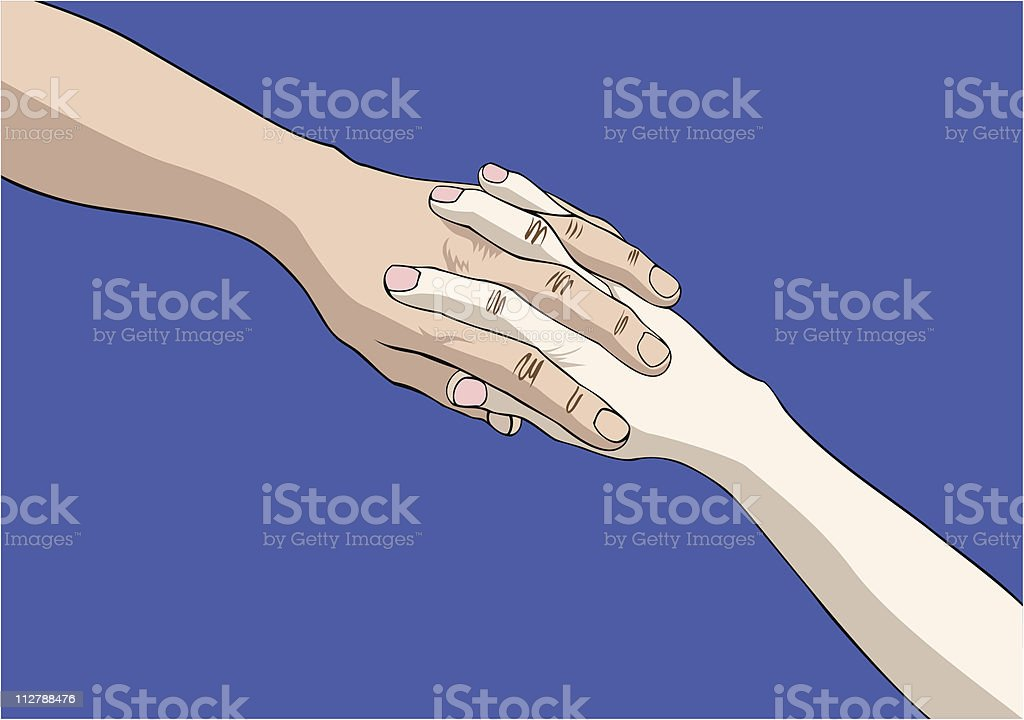 Two joined hands vector art illustration
