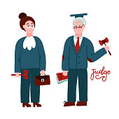 Two judges woman and man.Court workers in judicial robe holding book and hummer. Law justice professional occupation concept. Hand drawn characters full length isolated. Flat vector illustration