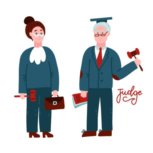 i̇ki yargıç kadın ve erkek. mahkeme çalışanları nın elinde kitaba ve hummer'a el uzaması. hukuk adalet mesleki meslek kavramı. el çizilmiş karakterler tam uzunlukta izole. düz vektör çizimi. - supreme court stock illustrations